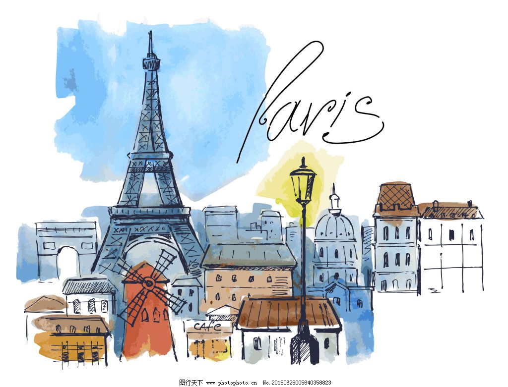 手绘巴黎免费下载 巴黎 建筑 手绘 铁塔 建筑 铁塔 手绘 巴黎 矢量图