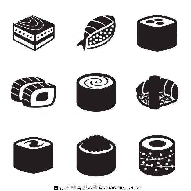 黑色的寿司图标 日本 食品图标 食品标识 滚动 日本食品 寿司卷