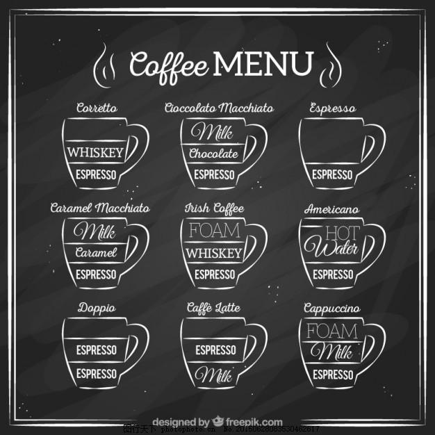 手拉咖啡菜单 葡萄酒 复古 黑板 手绘 咖啡杯 绘画 插画 复古怀旧