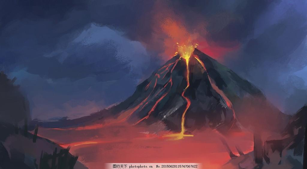 绘画 火山喷发 岩浆 风景 场景 设计 文化艺术 绘画书法 300dpi jpg