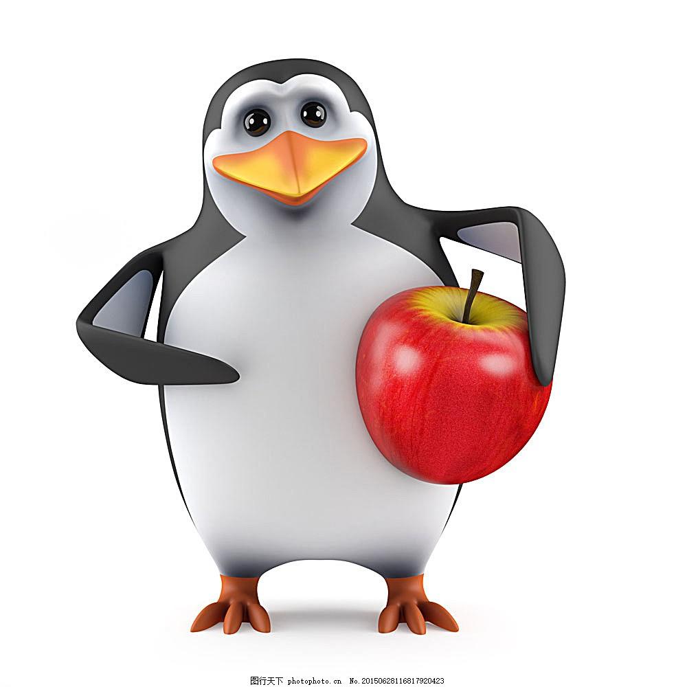 抱着苹果的企鹅 卡通企鹅 卡通动物 陆地动物 生物世界 图片素材
