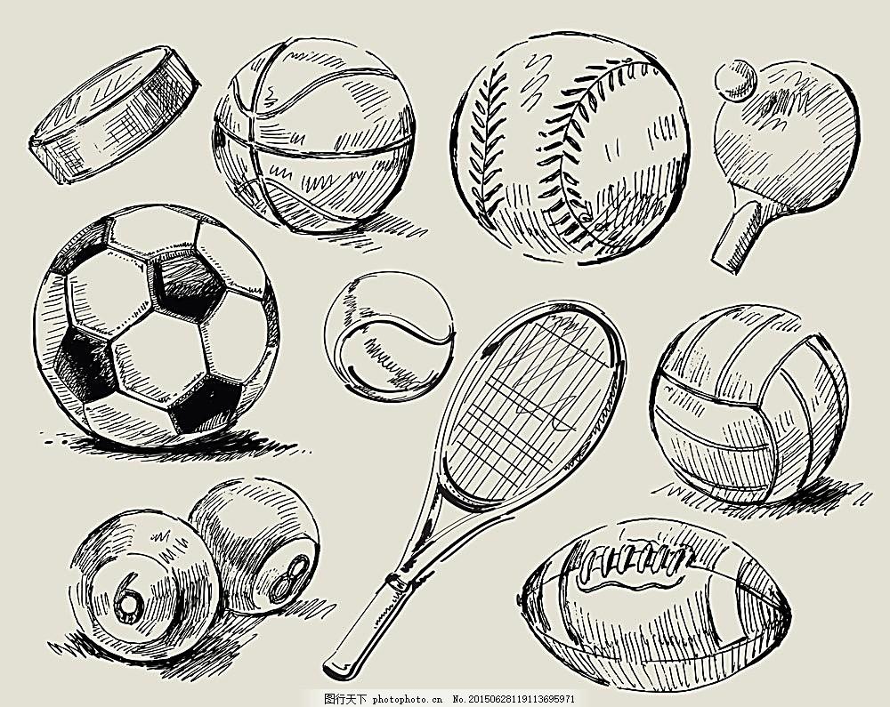 手绘球类运动器材,足球 台球 篮球 冰球 乒乓球 -图行