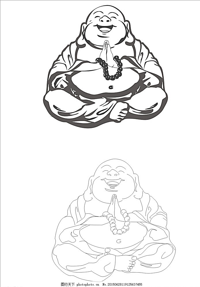 弥勒佛 弥勒佛手绘 弥勒佛线条图 弥勒佛矢量图 广告设计 白色