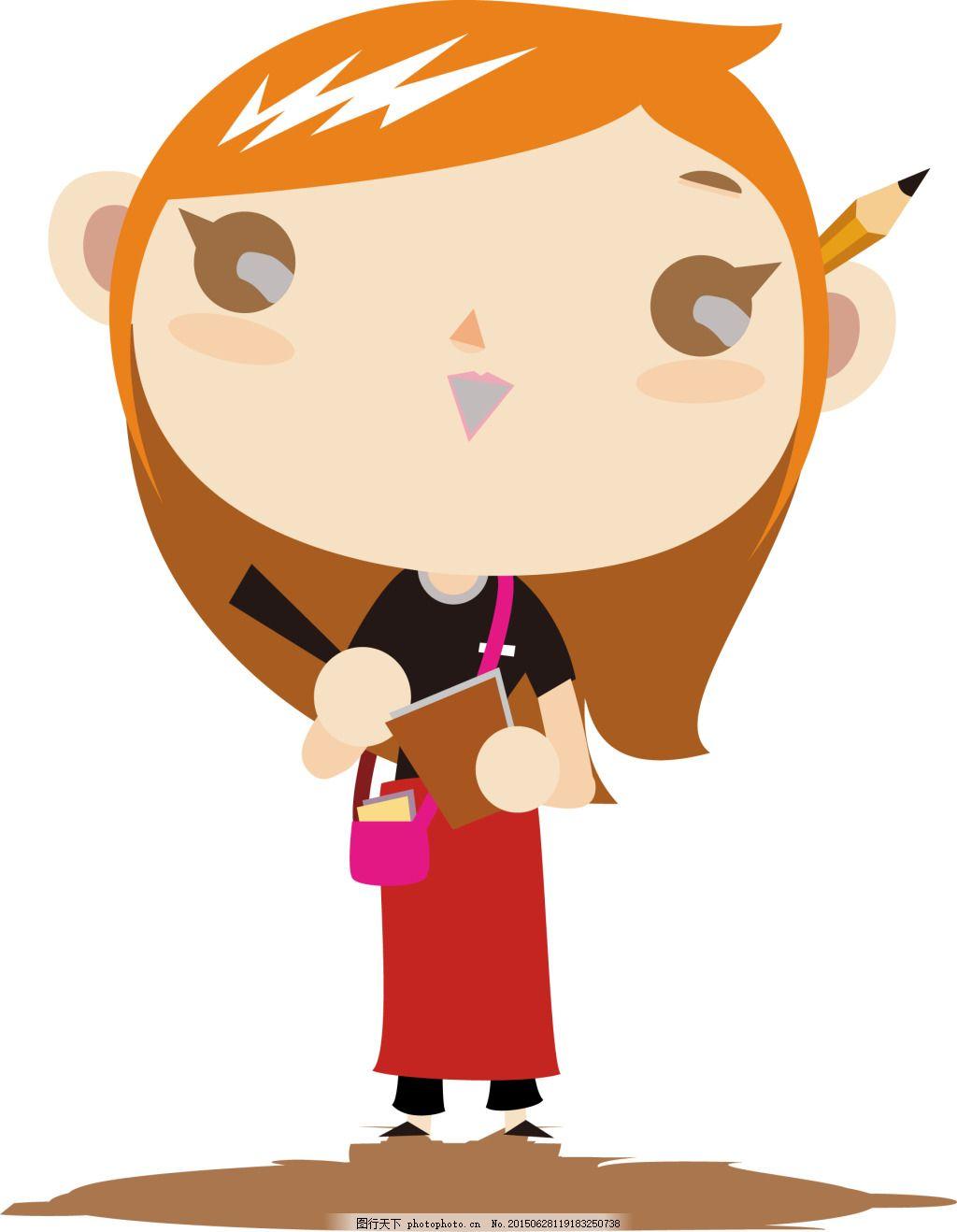 服务员 铅笔 笔记本 橘红头发 女生 女服务员 可爱 白色