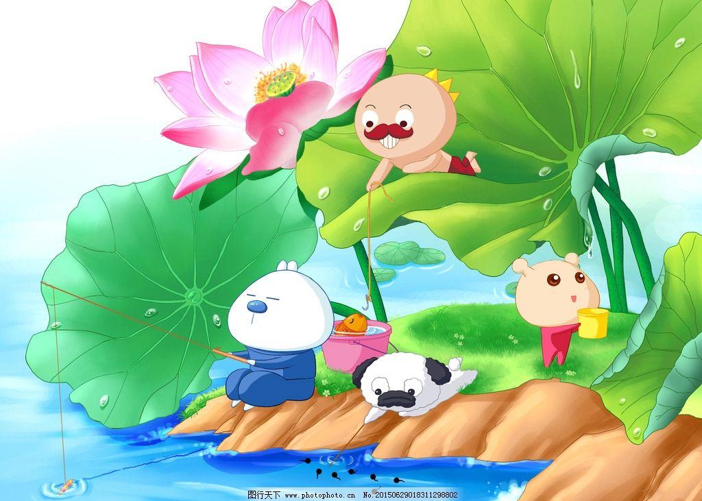 设计图库 动漫卡通 动漫人物  蜗友时光 高清 大图 壁纸 荷花 鱼塘