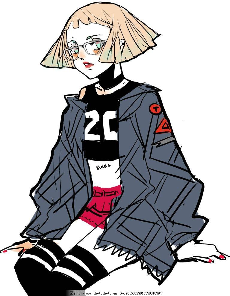 短发 漫画 女孩 漂亮 长袜 眼镜 素材 设计 动漫动画 动漫人物 256dpi