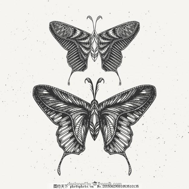 两只手画蝴蝶 一方面 自然 动物 手绘 绘画 装饰 观赏 蝴蝶飞