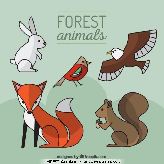 手绘的森林动物的线性风格