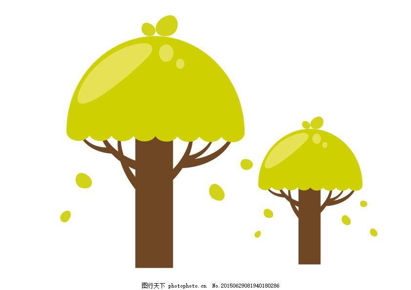 卡通绿色小树矢量图图片