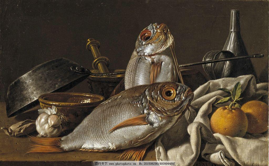 油画静物 鱼 橙子 装饰画 无框画 欧式油画 唯美 油画艺术 古典油画