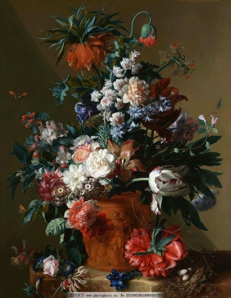 鸟巢 花卉 鲜花 装饰画 无框画 欧式油画 唯美 油画艺术 古典油画