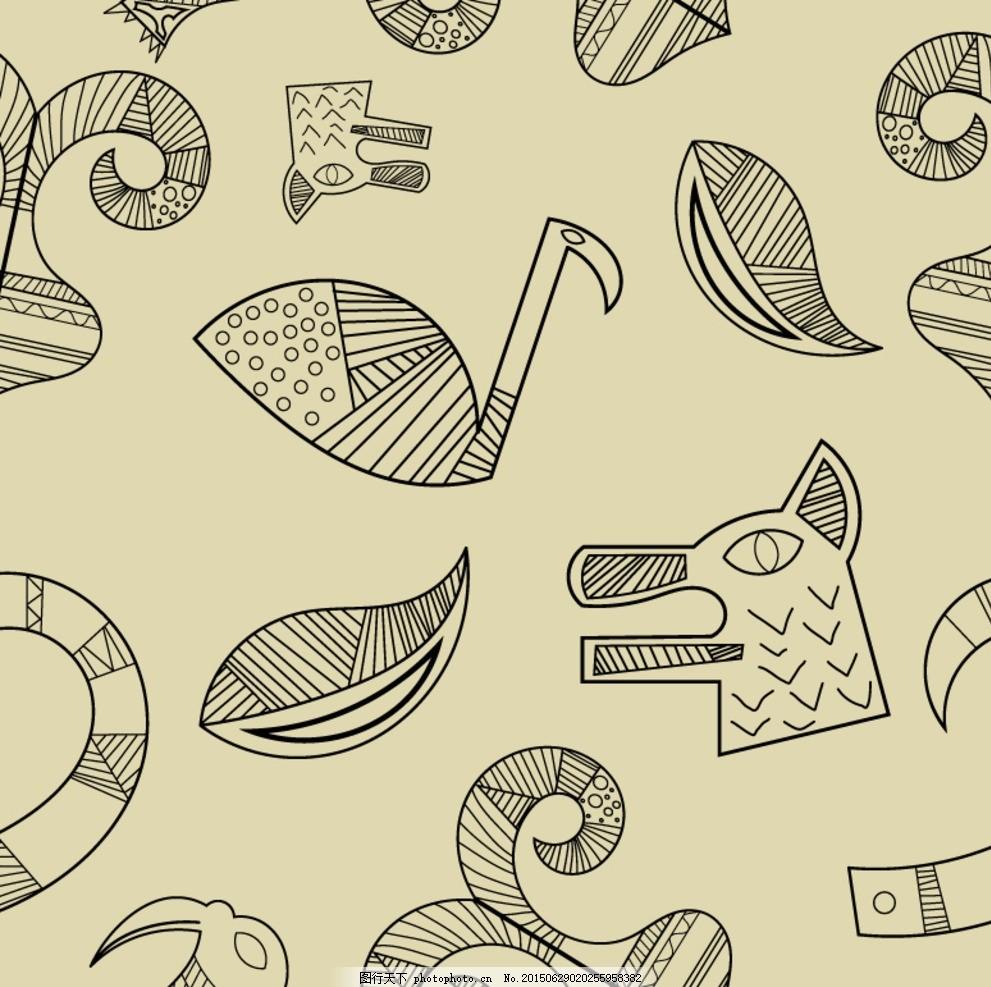 手绘图腾元素背景矢量素材,鸭子 鹅 羊角 狗 线绘-图