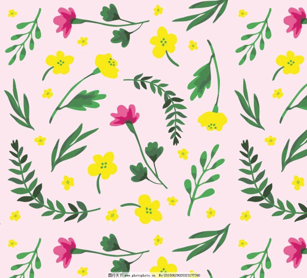 植物花朵 叶子素材 无树叶缝背景 卡通树叶图案 树叶花朵底纹 设计图片
