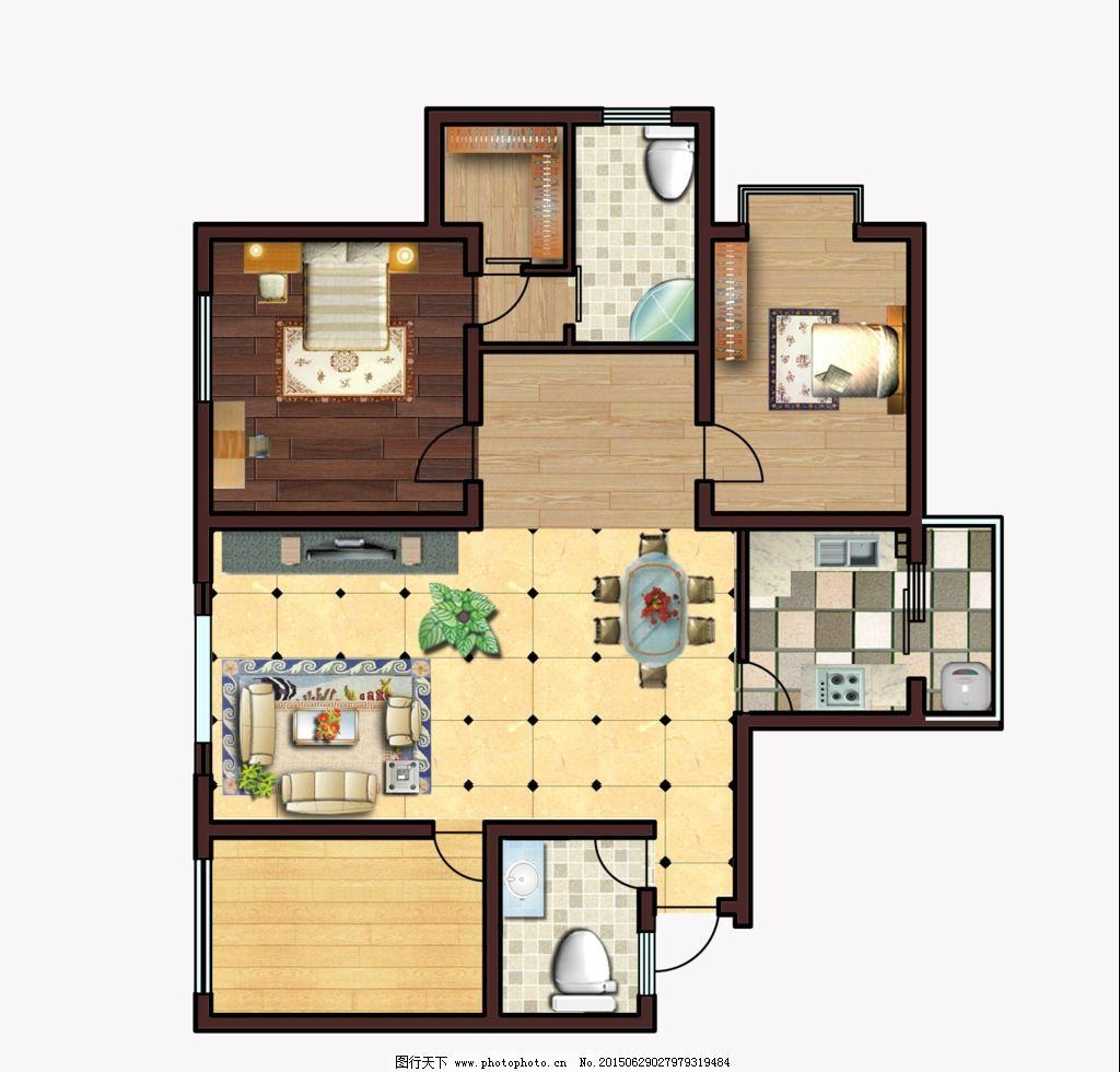 室内设计彩色平面图图片