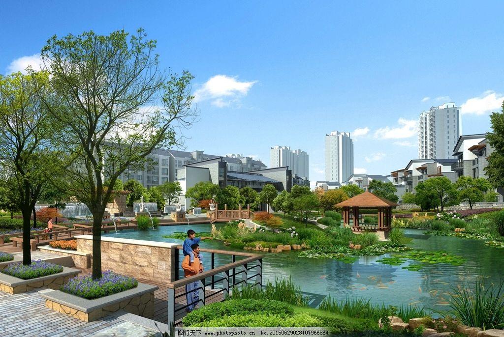 小区中心水景效果图图片_景观设计_环境设计_图行天下