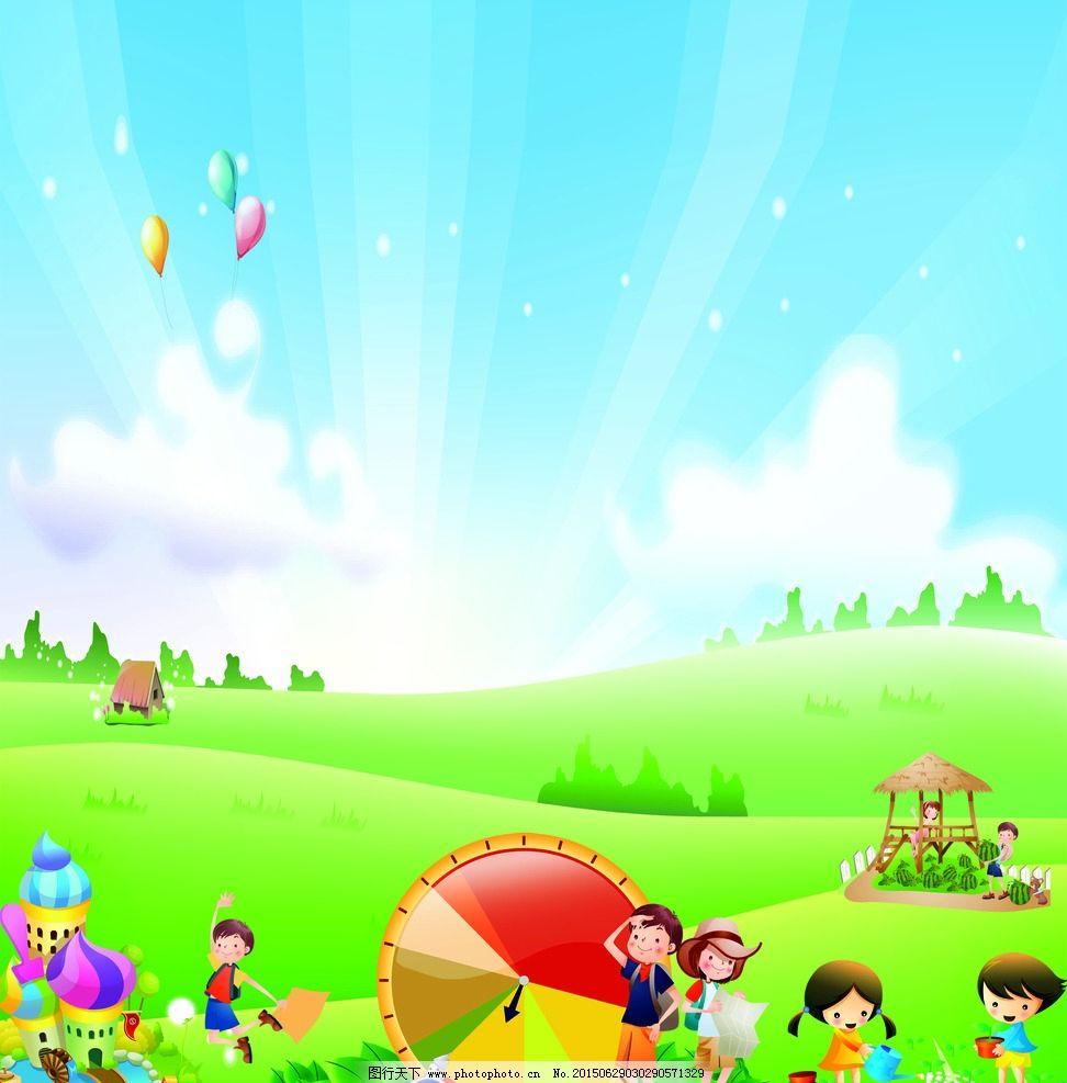 春天风景插画 春天树木 花园 草地 房屋 田园风光 手绘插画 卡通背景