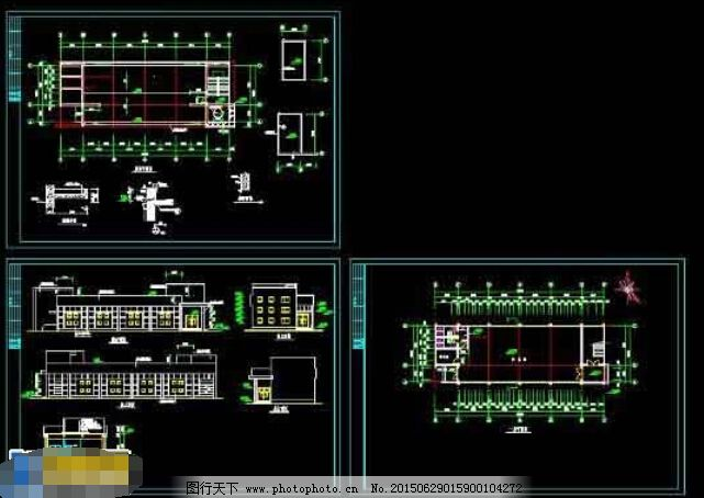 一层办公楼建筑cad施工图
