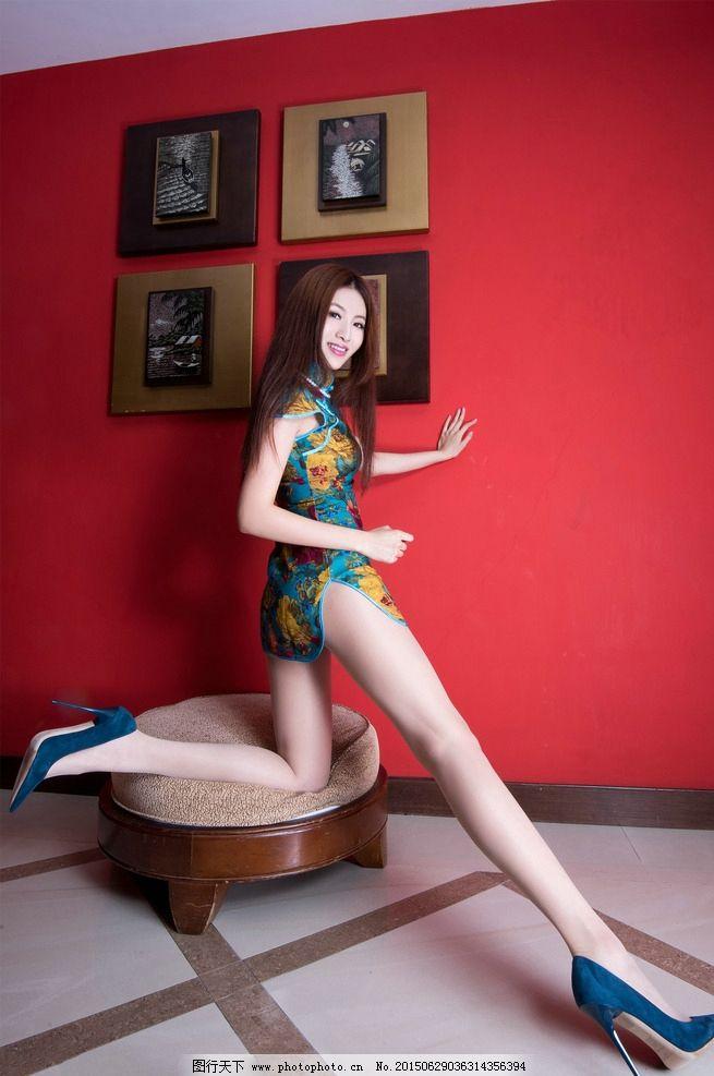 旗袍白丝袜长腿腿模