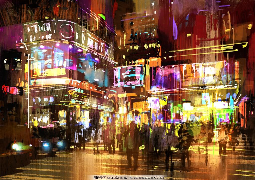 繁华都市街景特写 艺术写真 模糊景色 庆祝节日 城市 高楼林立