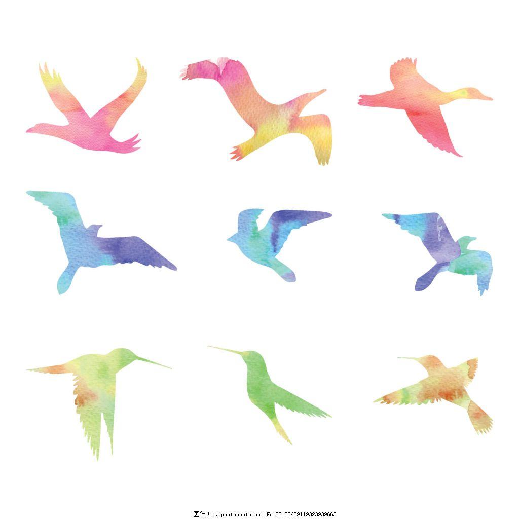 手绘彩色鸟 手绘 彩色 水墨 鸟 鸽子 大雁 燕子 矢量素材 eps 白色