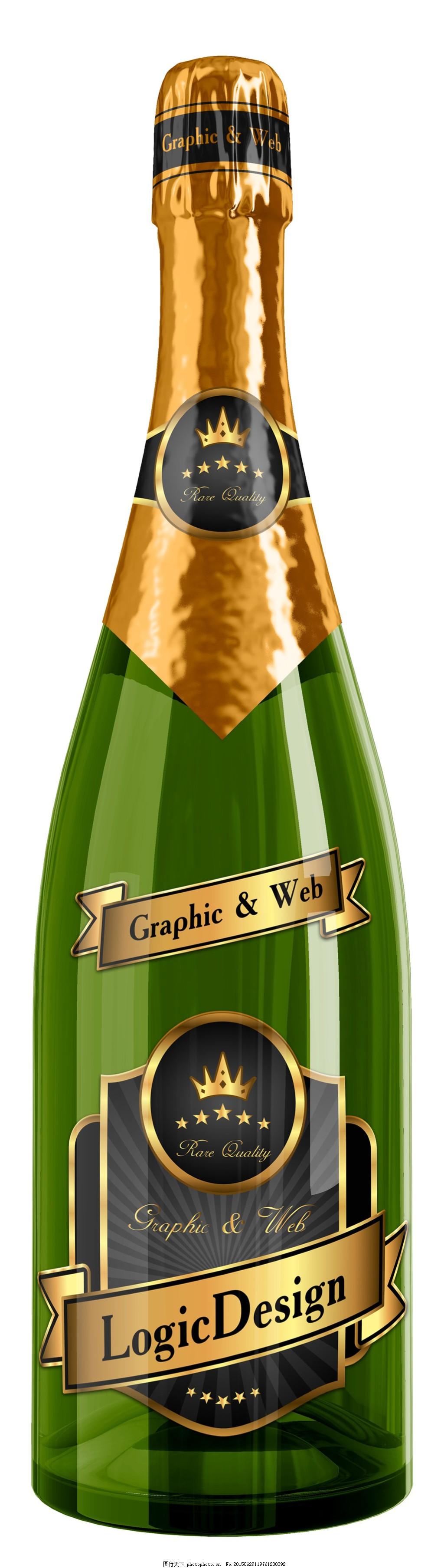 香槟包装瓶子 包装设计广告 产品展示图 包装图纸 广告设计psd源文件