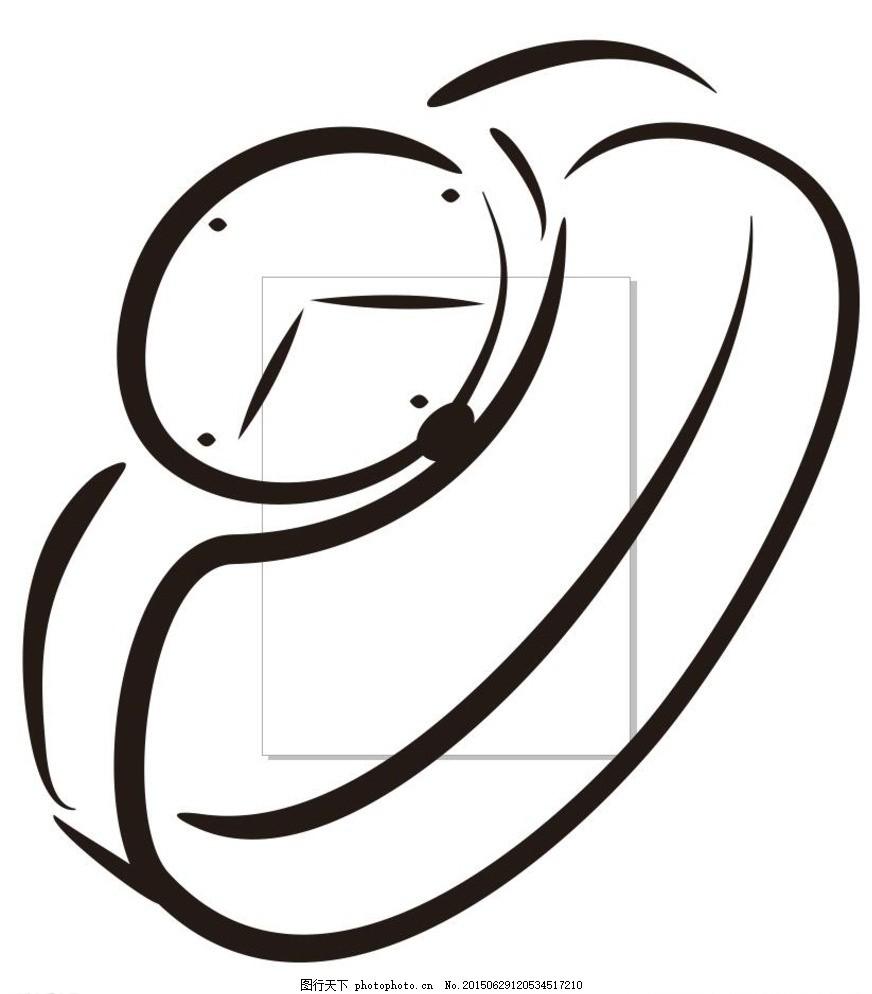 表 手表 简单画 线条 线描 简笔画 黑白画 卡通 手绘 标志图标 简单