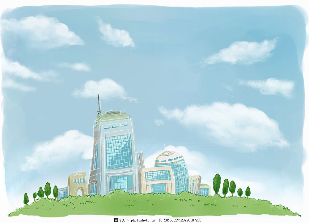 城市绿化 插画 手绘 边框 卡通画 油画 水粉画 房子 公园 原画师