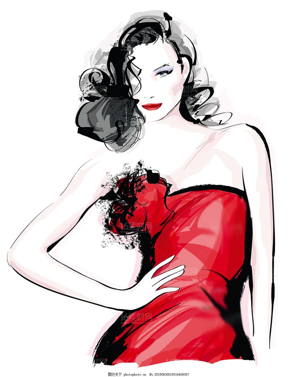 时尚手绘美女设计矢量素材