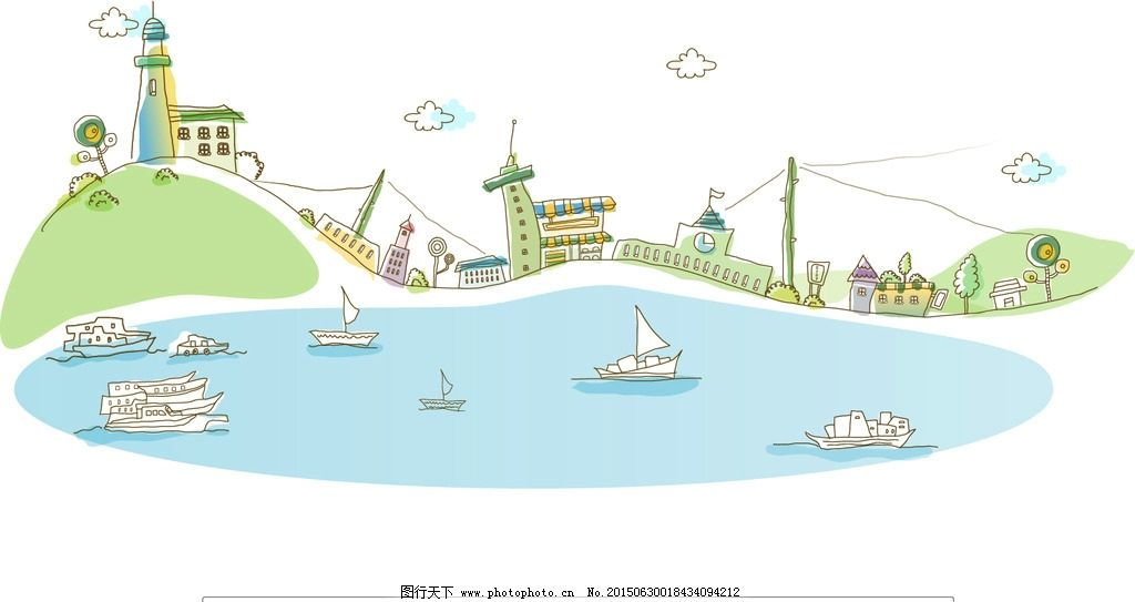海港 城市 建筑 大海 灯塔 轮船 帆船 港湾 码头 矢量插画 设计 动漫
