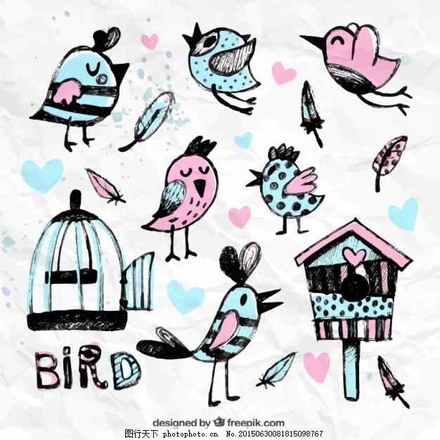 手画鸟和笼子 水彩画 动物 油漆 可爱 鸟类 宠物 可爱的动物