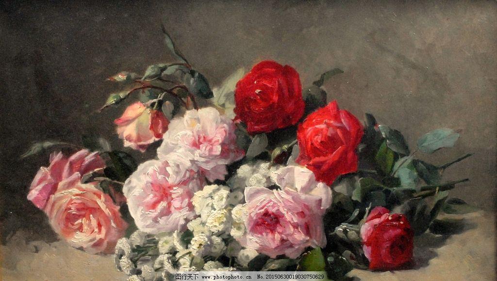 玫瑰 花卉 鲜花 装饰画 无框画 欧式油画 唯美 油画艺术 古典油画