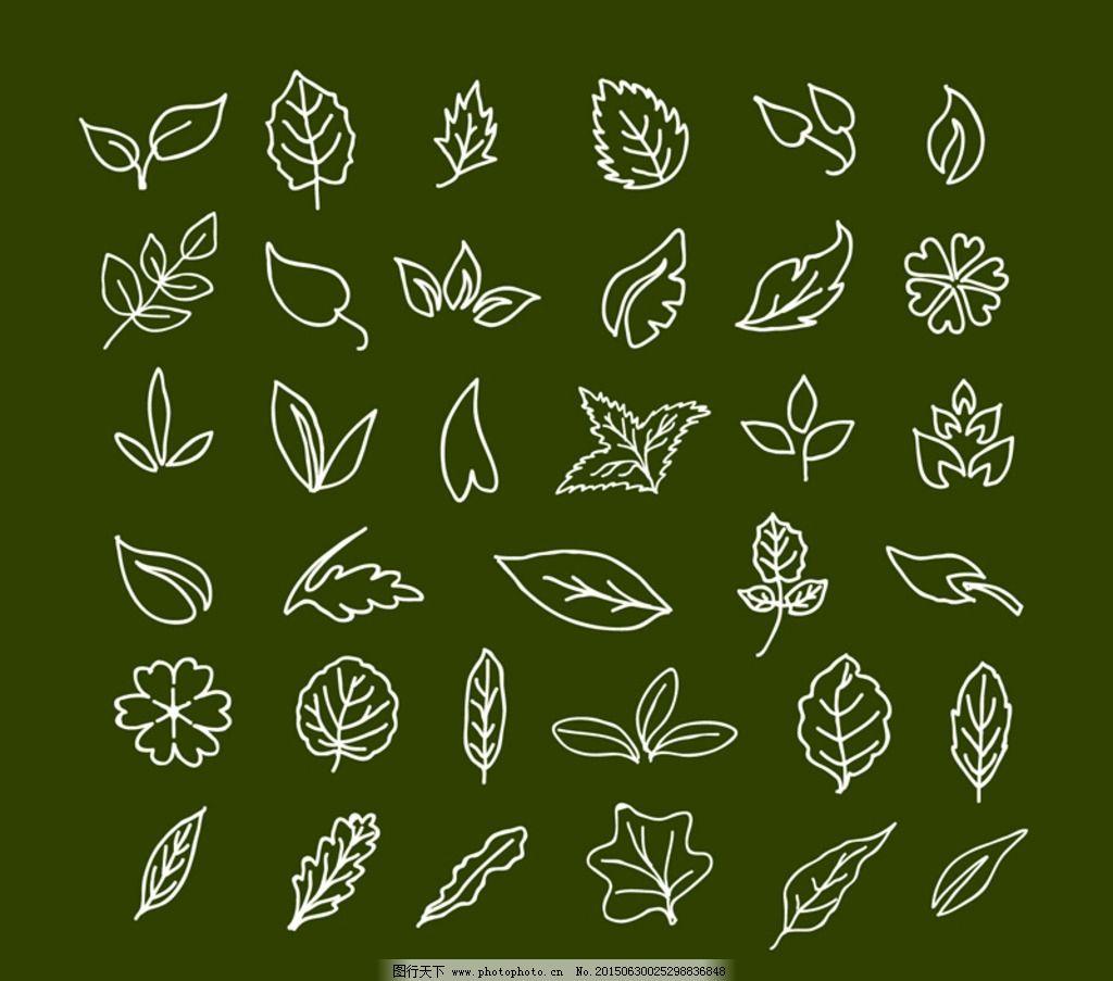 各种手绘树叶素材图片
