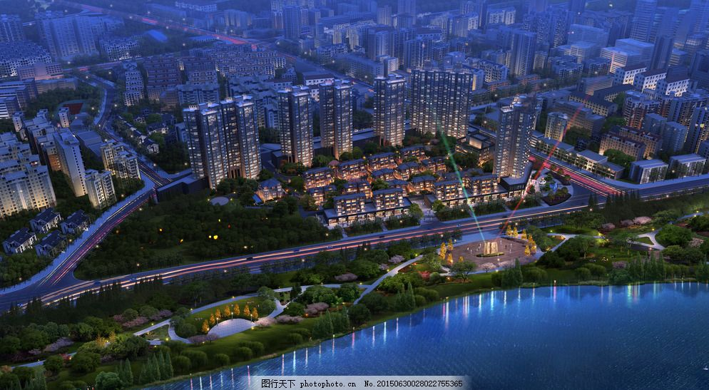 夜景鸟瞰效果图 建筑效果图 商业效果图 住宅区 城市设计 城市规划