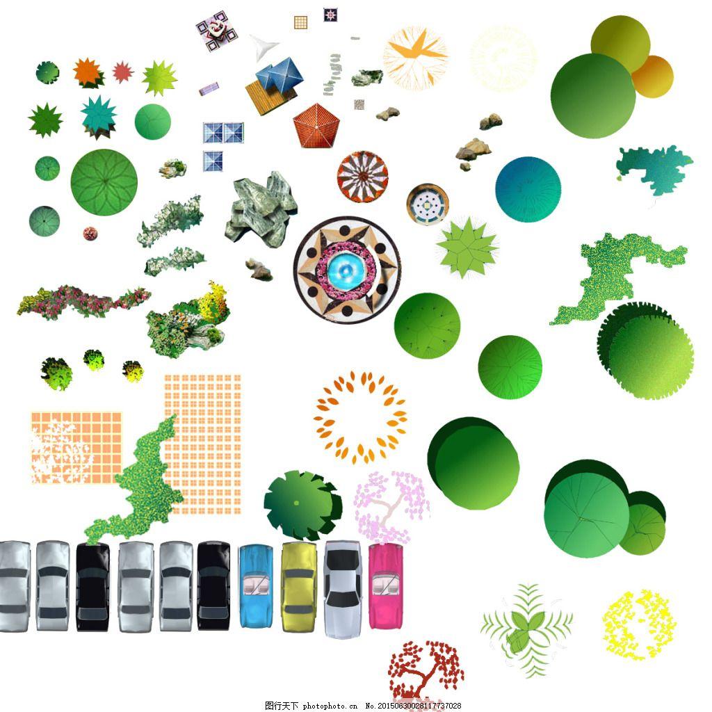 手绘植物 园林设计 手绘 植物 手绘平面 车辆 桥车 草丛 psd素材 园林