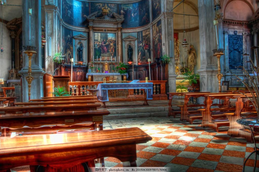 油画欧式教堂 建筑 工笔重彩 黑色