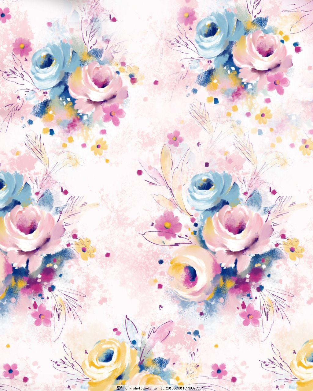 手绘花束 浪漫花卉 清新素材 手绘花 水墨画 花卉 花束     白色 jpg