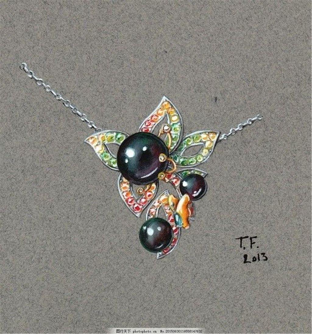 彩色美丽项链珠宝图片设计 手绘 时尚 创意 潮流 新颖 灰色