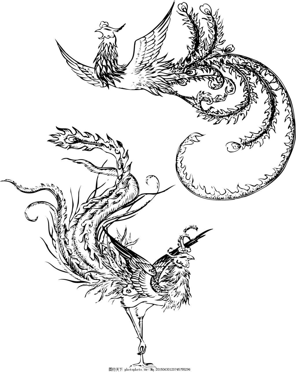 边框  凤舞 中国风线稿ai矢量素材279 凤凰 凤舞 中国风 线稿 涂色