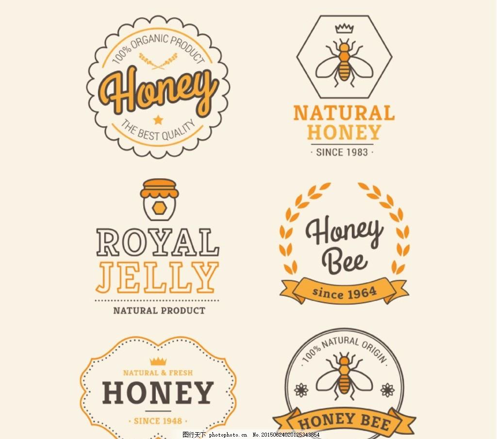 创意蜂蜜标签矢量素材,图标,标志,蜜蜂,昆虫,艺术字,字体